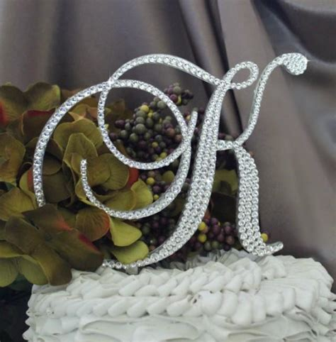 monogram wedding cake topper   letter