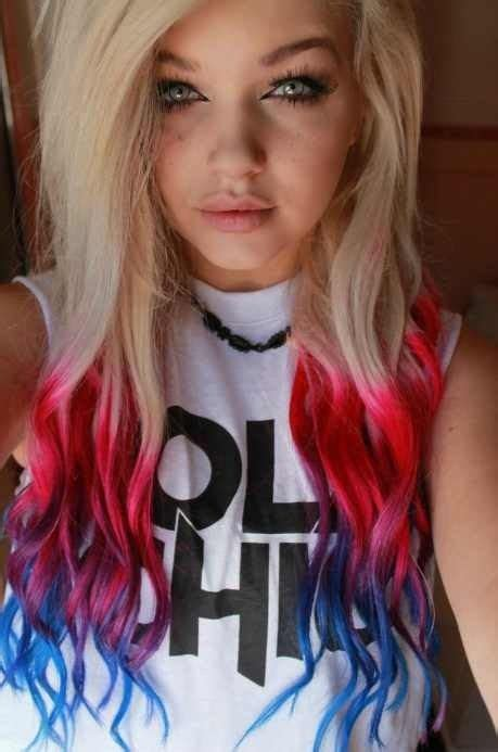 Blonde Hair With Red And Blue Dip Dyed Ends Hair