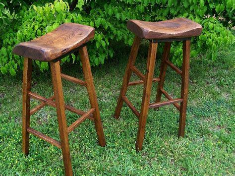 Buy Handmade Reclaimed Oak Live Edge Bar Stools, Made To