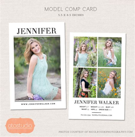 Free Model Comp Card Template Psd by Model Comp Card Photoshop Template Simple Chic Cm004