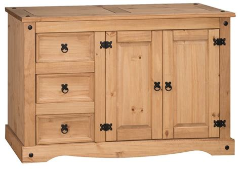 Corona Mexican Pine Sideboard by Corona Low 2 Door 3 Drawer Sideboard Solid Mexican Pine By