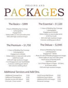 wedding packages 1000 images about package ideas on wedding photography pricing stationery and