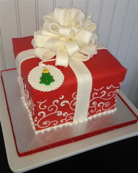 scrolled christmas gift box cake cakecentral com