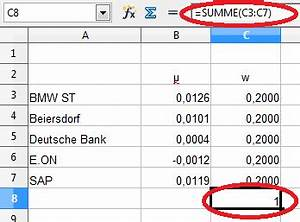 Open Office Summe Berechnen : portfolio optimierung mit openoffice calc aktienstrategien ~ Themetempest.com Abrechnung
