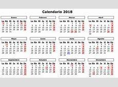 Calendario 2018 Para Imprimir Spanish Calendar
