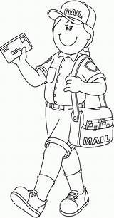 Mailman Coloring Helpers Community Pages Helper Preschool Crafts Worksheets Workers Visit sketch template