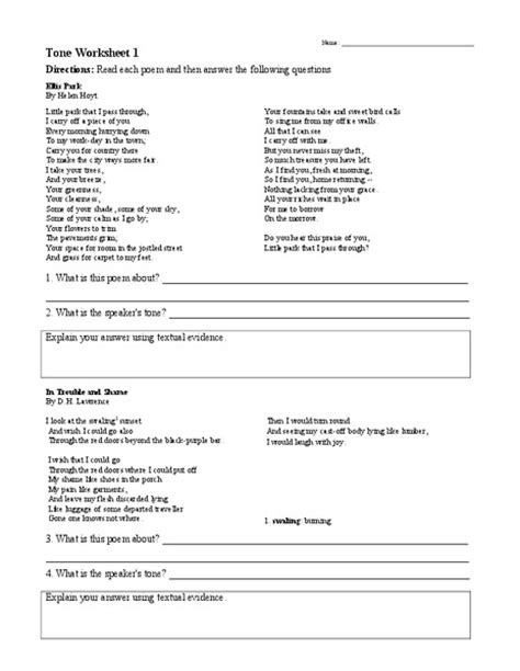 all worksheets 187 identifying mood and tone worksheets