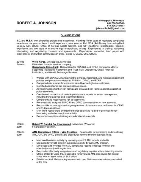 Aml Compliance Analyst Resume Sle by Robert Johnson Resume