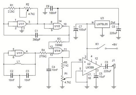 electronic circuit diagram electro schematic metal detector using beat frequency oscillator