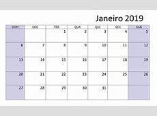 Janeiro Calendário 2019 Mensal Imprimir Modelo