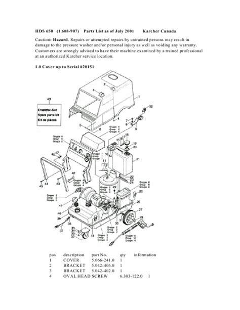 parts manual karcher hds 650 1 608 907 high pressure
