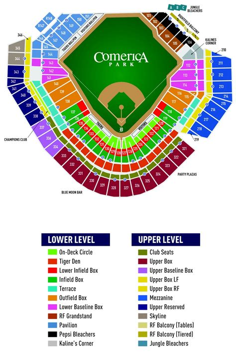 comerica park phone number seating chart with rows and seat numbers at comerica park