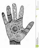 Coloring Decorative Palm Hand Ornaments Vector Illustration Abstract Cartoon sketch template