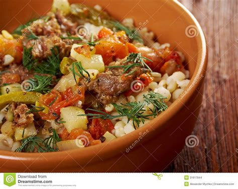 Boiled Pearl Barley With Meat And Vegetable Stock Images