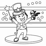 Coloring Magician Illustration Wand Hand Bird Preview sketch template