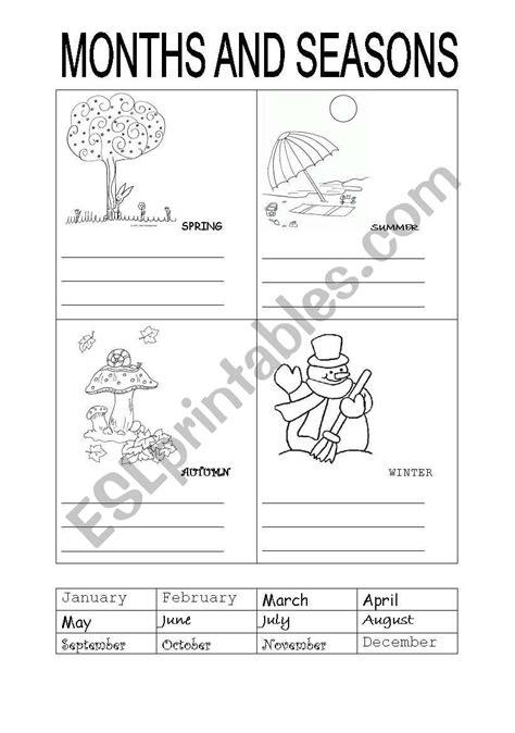 months  seasons esl worksheet  carotte
