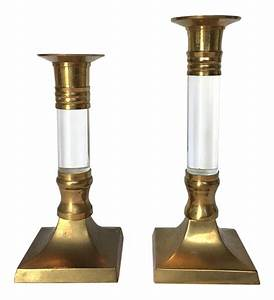 vintage lucite brass candle holders a pair chairish With kitchen cabinets lowes with antique candle holders brass