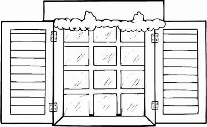 Window Coloring Pages Winter Template Clipart Printable