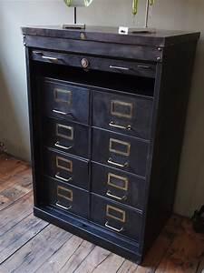 Meuble Design Industriel : rare ancien meuble 8 tiroirs a rideau industriel roneo 1940 ~ Teatrodelosmanantiales.com Idées de Décoration