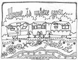 Colouring Coloring Pages Travel Camping Adult Camper Printable Trailers Instant Caravan Whimsical Line Rv Trailer Park Sheets Sketch Etsy Campers sketch template