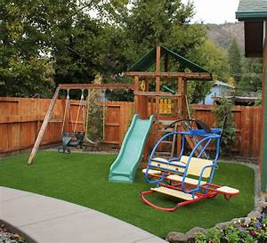 Bend, OR Backyard Playground Grass - After - Landscape