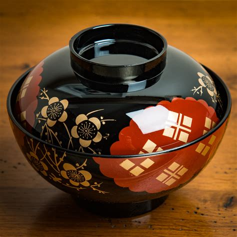 black and miso soup bowl and lid