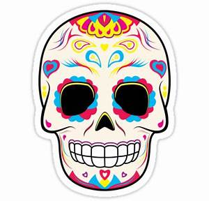 """""""Sugar Skull Pink and Yellow ~ Sticker"""" Stickers by hmx23"""