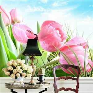 elegant pink tulip photo wallpaper 3d flower wall mural With markise balkon mit tapete pink