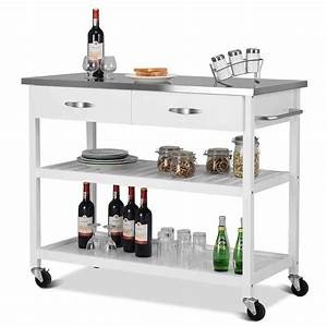 Wheeled, Kitchen, Trolley, Rolling, Pushing, Cart, Kitchen, Island, W, Stainless, Steel, Countertop, White