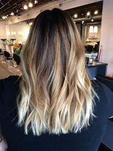 Ombré balayage with dark brown root. Warm blonde balayage ...