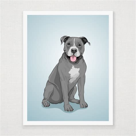 blue american pitbull art print