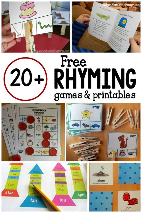 20 and free printables for learning rhyming words 905 | free rhyming games and printables
