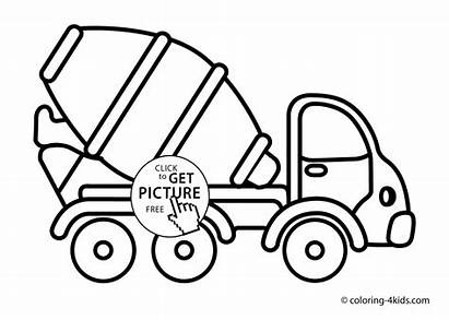 Cement Coloring Mixer Truck Transportation Pages Drawing