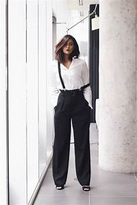 Elle Jeans Size Chart Black Pinstripe High Rise Pants With Suspenders In 2019