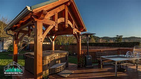 timber frame hot tub pavilion  gresham  framework