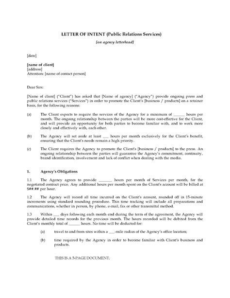 letter  intent  hire public relations firm legal