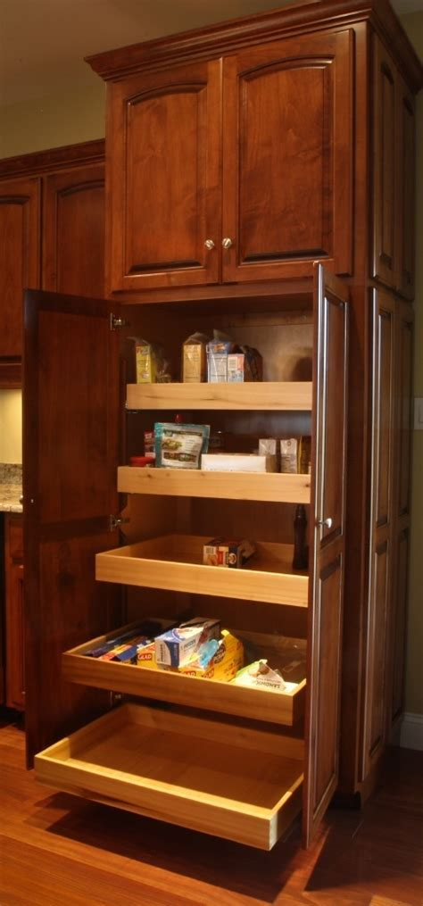Pantry with roll out shelves.   Amish Handcrafted
