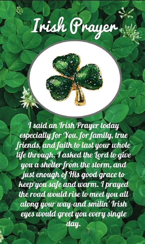 irish prayer shamrock pin  card  women  count