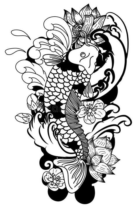 style de dessin noir  blanc de tatouage de koi carp