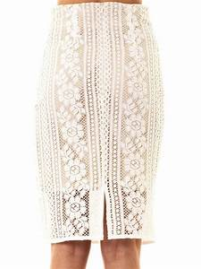 Lover Valentine Lace Pencil Skirt in White   Lyst