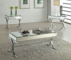 Reece modern mirrored top coffee table for Mirrored coffee table and end tables