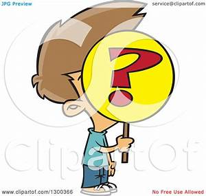 Clipart of a Cartoon Anonymous Brunette White Boy Holding ...