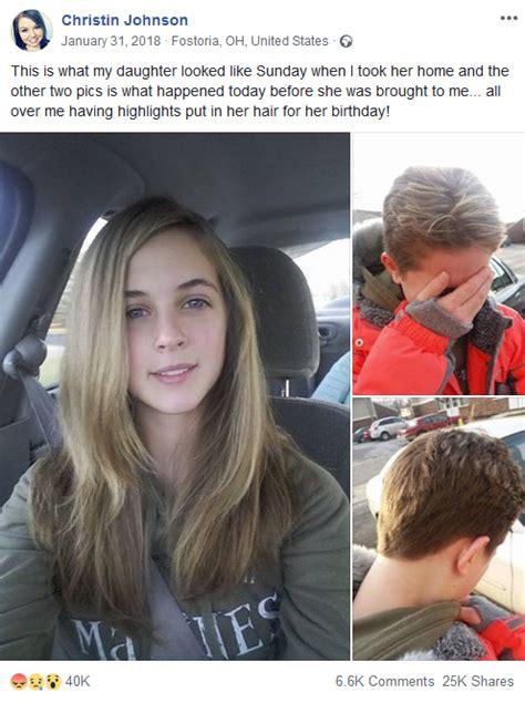dad chops  teen daughters hair  mom