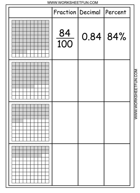 decimal grid worksheets decimals worksheetsusing models