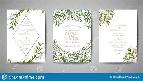 Set Of Wedding Invitation Floral Invite Thank You Rsvp