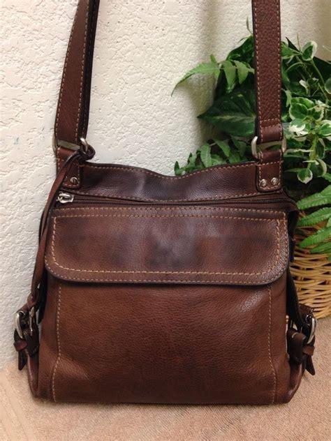 fossil brown leather organizer crossbody shoulder handbag