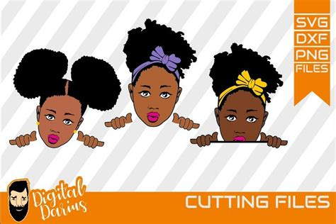 Get free money towards your purchases with creative market credits. 3x Black Girl Layered SVG, Afro Lady svg, file, Bow in ...
