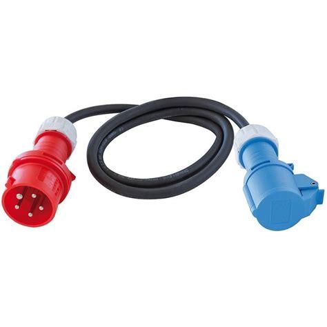 le mit stecker adapterleitung 230v 16a mit cee stecker und cee kupplung