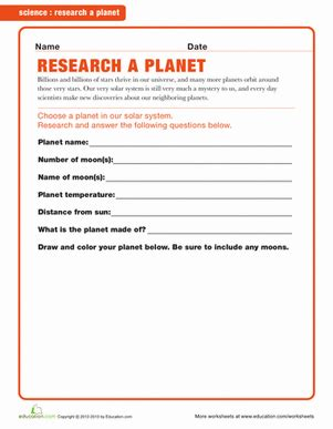 planet research worksheet the large and most