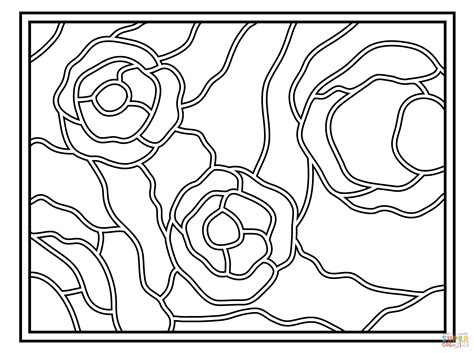 Starry Night Stained Glass Coloring Page Free Printable